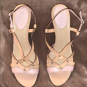 Nude short strappy sandals pumps cole haan